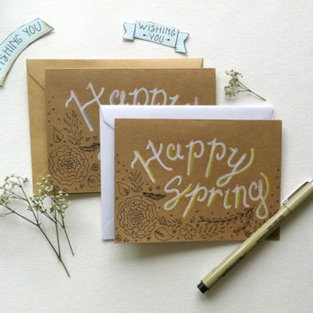 Happy Spring. Blank Seasonal Greeting Card on Kraft Brown with White Handlettering, two shade options