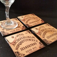 brown ouija board style ceramic drink coasters handcrafted halloween