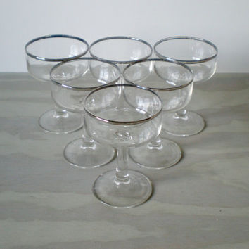Cocktail Glasses Silver Rimmed Mad Men Barware by HoundDogDigs