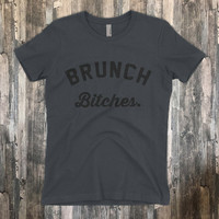 Brunch Bitches | Because Brunch and Mimosas T-Shirt | Premium Brand Cotton shirt | Brunch Shirt for Ladies | Voodoo Vandals VV-13