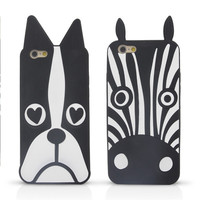 New Marc.Jacobs Cute Cartoon Animal Design Love Dog/Zebra/Owl Soft Silicone Phone Cases Cover For iPhone 6 Case 4.7 Inch