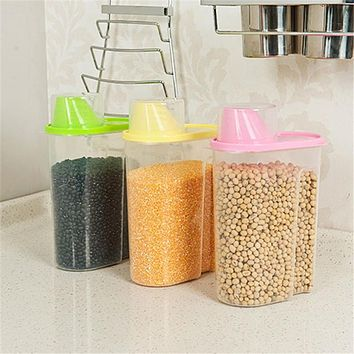 Small Double Canister Food Grade Storage Tank With Scale Measuring Cup Antibacterial Deodorization Storage Jar VBY08 P0.21