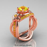 Nature Inspired 14K Rose Gold 1.0 Ct Yellow Sapphire Leaf and Vine Wedding Ring Set R180S-14KRGYS