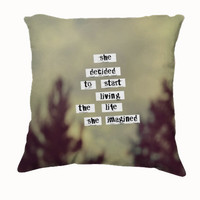 "Throw Pillow-Home Decor- ""Her Life"" 18 x 18 Pillow-Typography--Cream-Home Decor-"