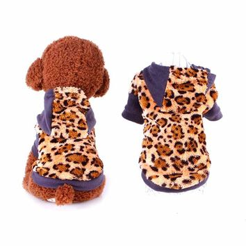 PET CASUAL CLOTHING LEOPARD PRINT SWEATER COAT DOG APPAREL PET ACCESSORIES.