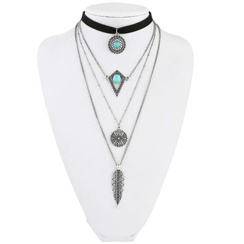 Layered Necklace Hippie Indian Native American Jewelry Choker Necklace Ethnic Navajo Tribal Necklace Online Shopping India