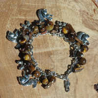 Tiger Eye Squirrel Bracelet ~ Brown Stone Bracelet ~ Boho Jewellery ~ Healing Stones ~ Semi Precious Stones ~ Fall Jewellery ~ OOAK
