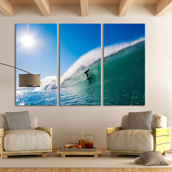 Surfing Wall Art Ocean Surfing Home Decor Photography / Tropical Beach House Artwork Sports Canvas Print / Ocean Water Sport Waves Wall Art