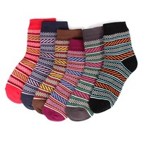 Women's 6 Pairs Multi Color Patterned Casual Cotton Fashion Crew Socks