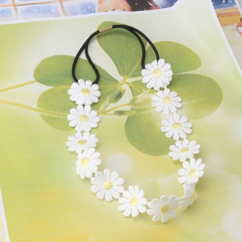 Bohemia Styles White Daisy Hair Bands For Women Girls Hair Accessories Headbands Elastic Flower Hair Garland Headdress