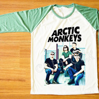 Arctic Monkeys T-Shirt Indie Rock T-Shirt Raglan Tee Shirt Green Sleeve Shirt Women T-Shirt Men T-Shirt Unisex Tee Shirt Baseball Tee S,M,L