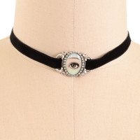 Eye See Through You Velvet Choker Necklace