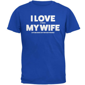 Valentines I Love My Wife Friends Royal Adult T-Shirt