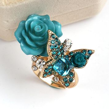 Flower Adjustable Rings for Women Fashion Butterfly Elegant Jewelry bijouterie Rings Bague Femme Wedding Cocktail Party Rings