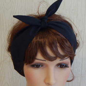 Retro Headband, Black Headbands, Tie Up Head Wrap, Self Tie Hairband, Rockabilly Hair Wrap