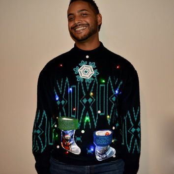 Light up Star Wars, Ugly Christmas Sweater, Men's, Large, ugly xmas sweater, party sweater, lights, vintage