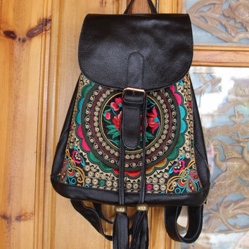 Ethnic Genuine Leather Embroidered Backpack