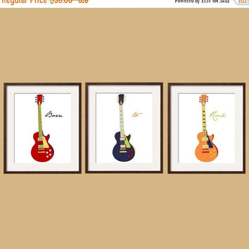 Halloween Sale Kids Wall Art - Guitar Prints -Toddler Wall Art in navy red orange yellow blue Set of 3 - many sizes - Custom  colors by Yass