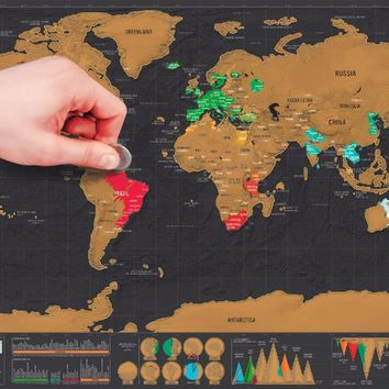 Deluxe Travel Scratch Off World Map Poster