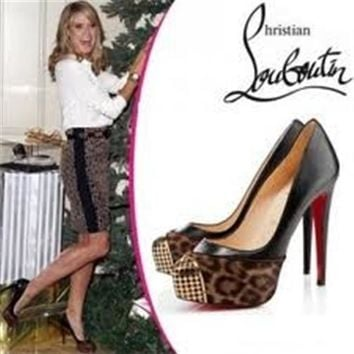 Christian Louboutin MAGGIE Leopard Pony Platform Metal Toe Pump Heel Shoes $1095