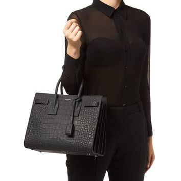 Saint Laurent Small Croc Print Sac De Jour Bag