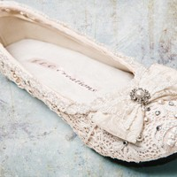 Sweet Wedding Ballet flatsvintage lace and by everlastinglifashion