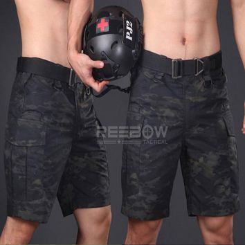 Tactical Camouflage Shorts Men Summer Military Outdoor Adjustable Sports Cargo Shorts Airsoft Paintball Field Game SWAT Police