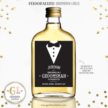 BE MY GROOMSMAN Labels, Best Man Ask, Custom Whiskey Labels, Ask Usher Label, Custom Wine Label, Personalized Best Man Gift, Wedding Favor