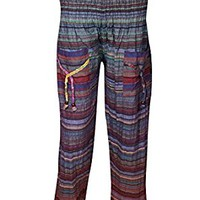 Mogul Womens Indian Yoga Pant colorful Stripes Print Cotton Cuffed Boho Lounge Baggy Trouser