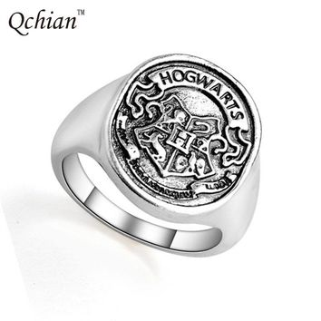 Harry Potter Rings Hogwarts Bade Seal Death Hallows Ring The Slytherin School Steampunk Women Men Cocktail Ring Drop Shipping