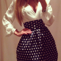 White Plunging V-Neckline Long Sleeve High Waist Polka Dot Flare Dress