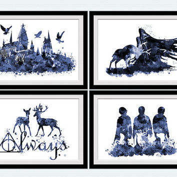 Harry Potter set of 4 poster Harry Potter watercolor art print Harry Potter wall decor in blue Home decoration Kids room decor Gift idea S16