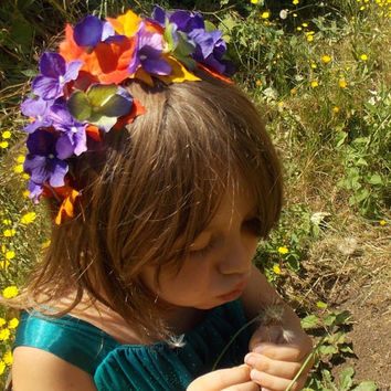 Fall Leaf Garland Headband Crown with Purple Hydrangea Flowers and Autumn Leaves