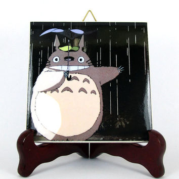 Totoro with umbrella from My Neighbor Totoro Ceramic Tile     Studio Ghibli Hayao Miyazaki Anime Manga Japan gift idea Mod.2