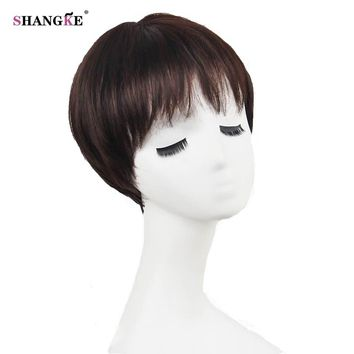 SHANGKE Short Brown Hair Wigs Women Natural Synthetic Wigs For Black Women African Americans Heat Resistant Fake Hair 6 Colors