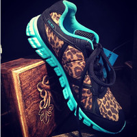 Blue Run Wild Leopard Tennis Shoes