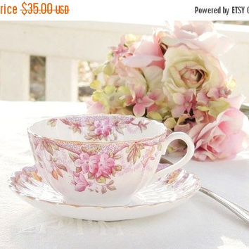 On Sale Vintage Spode Irene Footed Tea Cup and Saucer Set, English Bone China Tea Set for Weddings, Bridesmaid Luncheon, Tea Parties