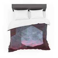 """Cafelab """"Dramatic Geometry"""" Black Pink Geometric Featherweight Duvet Cover"""