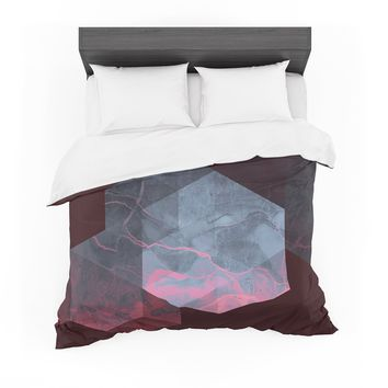 "Cafelab ""Dramatic Geometry"" Black Pink Geometric Featherweight Duvet Cover"