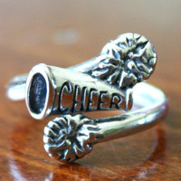 Cheerleader's Ring, Cheer Jewelry Gift, Sterling Silver Megaphone Pom Pom Cheerleading Ring (Adjustable Size)