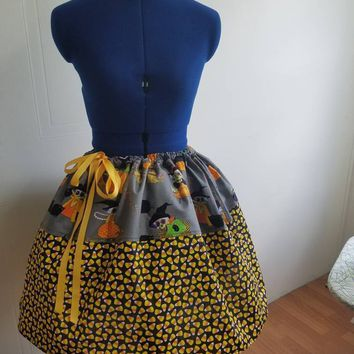 Alexander - Henry - print - Halloween - witch - black - cat - candy - corn - pinup - rockabilly  - retro - style - drawstring - skirt
