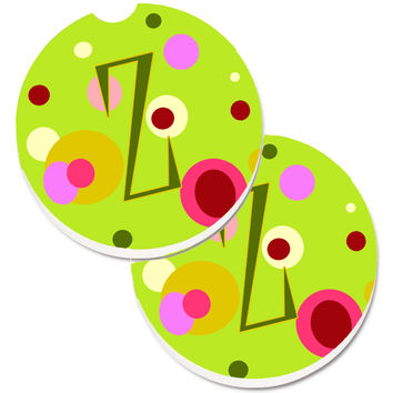 Letter Z Monogram - Lime Green Set of 2 Cup Holder Car Coasters CJ1010-ZCARC