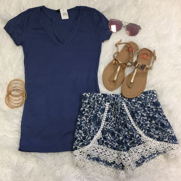 Goes With Everything V-Neck TopL Blue