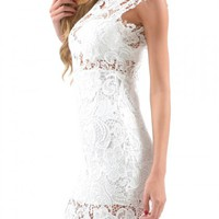 White High Neck Crochet Lace Bodycon Dress - Choies.com