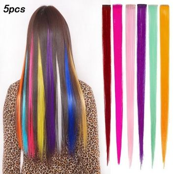 5pcs Clip On In Colorful Straight Hair Toupee Highlight Hair Extension Hair Pieces