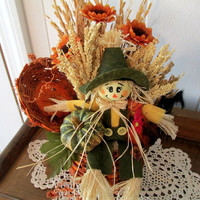 Fall Floral Arrangement / Autumn Floral Arrangement / Floral In Pumpkin With Scarecrow And Rooster / Rustic Pumpkin Scarecrow Floral