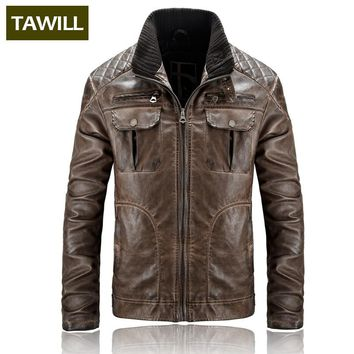 TAWILL Bomber Jackets Male Leather Jacket Fashion Casual Overcoat Military Jacket  Men's Clothing Asian size 18AL001