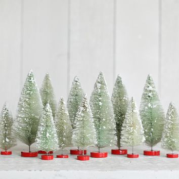 Bottle Brush Tree Set - One Dozen Mixed Size Minty Sisal Christmas Trees