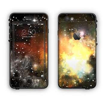 The Glowing Gold & Black Nebula Apple iPhone 6 LifeProof Nuud Case Skin Set