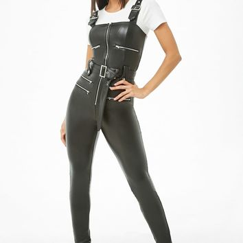 Faux Leather Belted Overalls